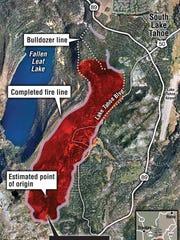 Angora fire aerial graphic: Bulldozer line