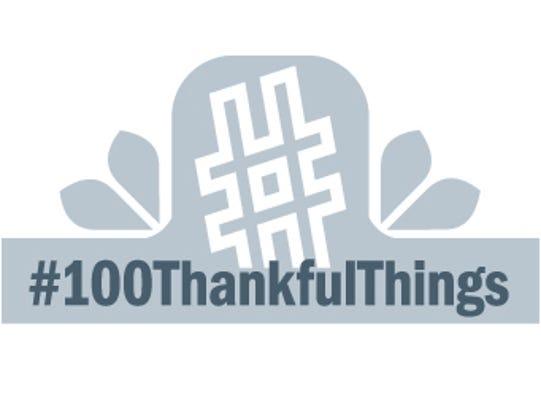 white #100ThankfulThings logo