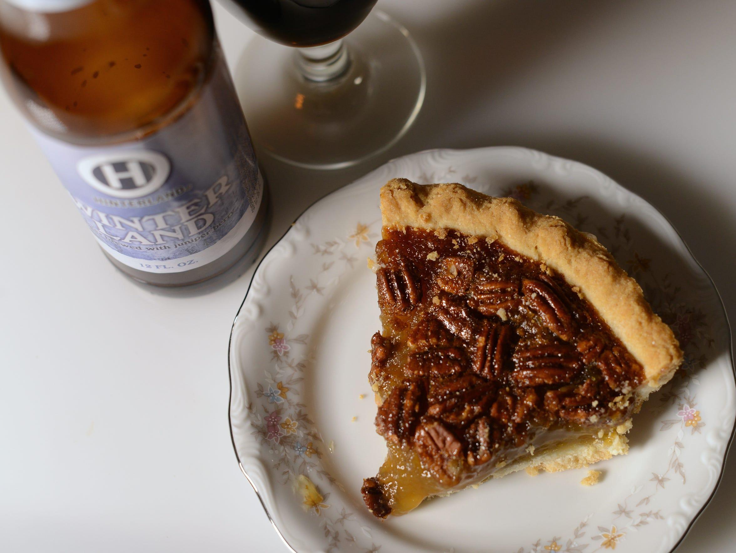 Pecan pie paired with Hinterland's Winterland.