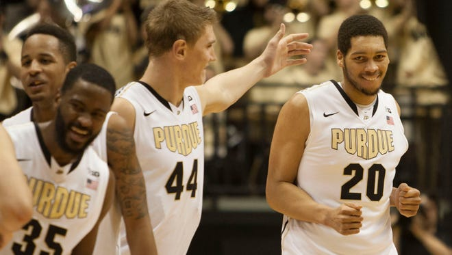Purdue's twin 7-footers: Isaac Haas (left) and A.J. Hammons (right).