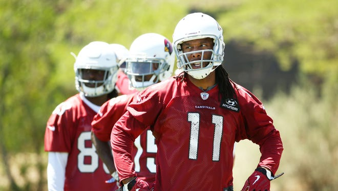 Arizona Cardinals wide receiver Larry Fitzgerald during voluntary Organized Team Activities on June 7, 2018 at the Arizona Cardinals Training Facility in Tempe, Ariz.