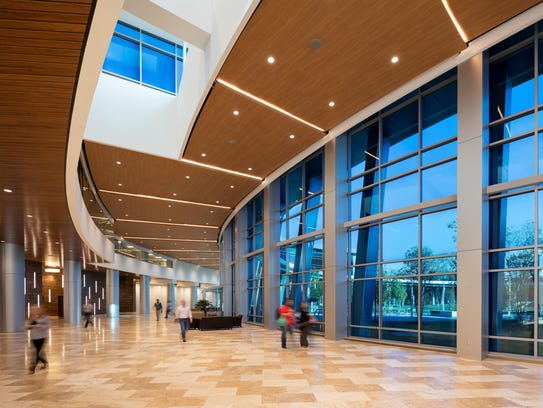 The lobby of the CenturyLink building in Monroe, La.,