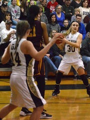 Destiny Harper passes the ball during the 2A Regional