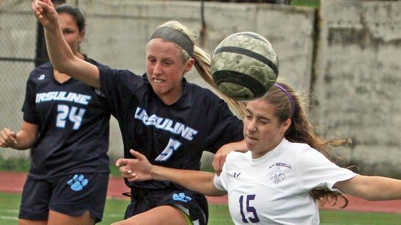 Ursuline's Lily Flynn battles New Rochelle's Sophie