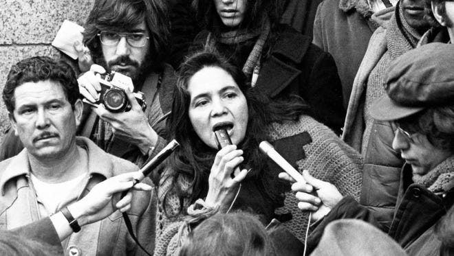 Dolores Huerta is seen in this footage shot in 1975.