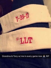 These are the armbands Grenada safety C.J. Avery wears every game to honor his grandma.