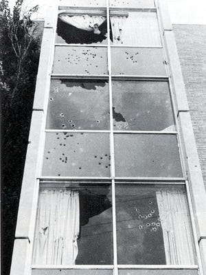 Law enforcement officers riddled Jackson State University's Alexander Hall with bullets.