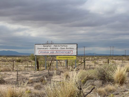A political sign on U.S. 180 on the way between Deming