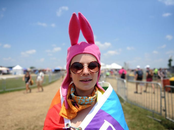Emily Rose Galloway, of Charlotte, N.C. pauses for a portrait before walking under the arch at Bonnaroo Music and Arts Festival on Sunday, June 12, 2016, in Manchester, Tenn.