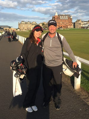 Granville Christian graduate Lauren Keiser and her dad Dan toured the Old Course at St. Andrews Links with her Grace College women's golf teammates in May.
