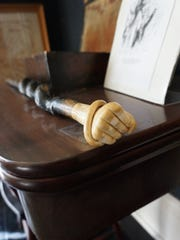 This ivory-headed cane, owned by Henry S. Lane, is