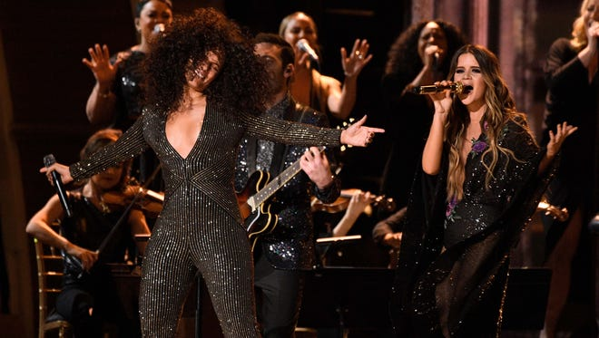 Alicia Keys and Maren Morris perform during the 59th Annual Grammy Awards at Staples Center.