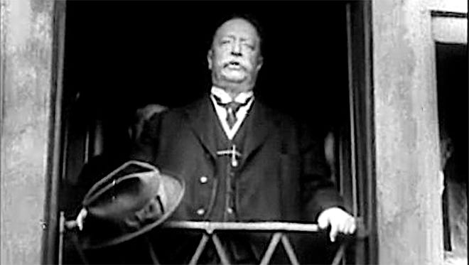 During the heyday of rail transportation, Presidents regularly addressed large crowds from the rear platform of a Pullman train car. President Taft is pictured here at whistle stop.