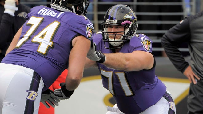Former Baltimore Raven Rick Wagner, right, became the NFL's highest paid pure right tackle when he signed a five-year contract with the Lions earlier this week.