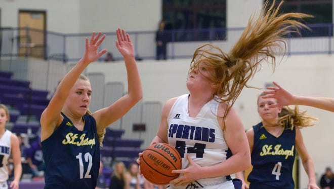 Lakeview's Emily Eldridge (44) goes to the basket during Tuesday night's matchup against St. Joseph.