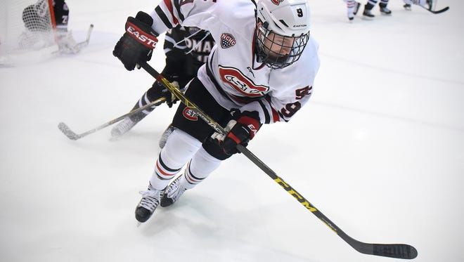 St. Cloud State's Joey Benik skates with the puck near the boards during Friday's game against the University of Nebraska-Omaha at the Herb Brooks National Hockey Center in St. Cloud.
