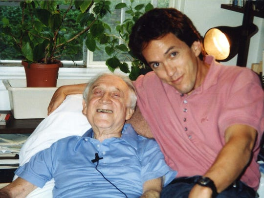 Mitch Albom with Morrie Schwartz, his professor from