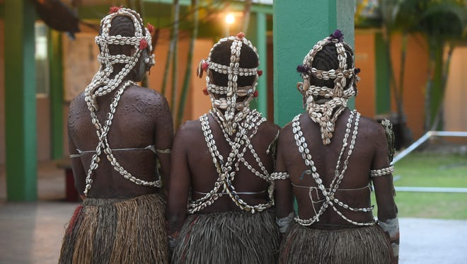 "Female members of the Papua New Guinea dance group display their traditional body scars called ""Pandi"" at the Agat Mayor's Office in Agat on May 31."