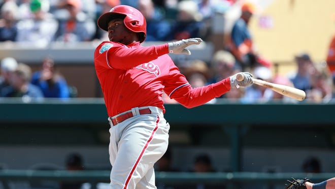 Phillies third baseman Maikel Franco hits an RBI single during the sixth inning March 21 against the Detroit Tigers at Joker Marchant Stadium. Franco, who led all players in the majors with nine home runs in spring, is poised for a big season.