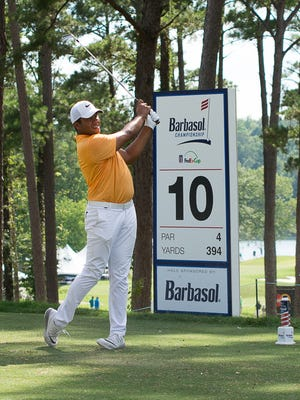 Jhonattan Vegas on the 10th tee box during the third round of the Barbasol Championship on the RTJ Golf Trail at Grand National  in Auburn, AL July 16, 2016