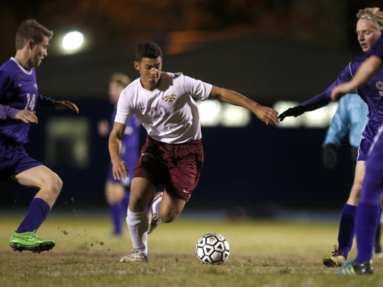 Florida High's Victor Castano scored a goal during the Seminoles' 3-0 win over Marianna in a District 2-2A semifinal at Rickards on Wednesday.