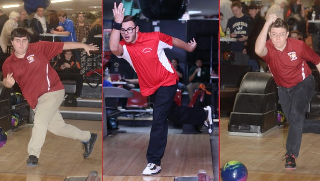 From left, Pompton Lakes bowlers David Neil, Nick Cilento and Esteban Garcia bowled the first three 300 games in school history this season.