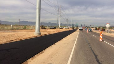 After April 3, 2017, traffic on most of the westbound lanes of Pecos Road will be rerouted to an interim road.