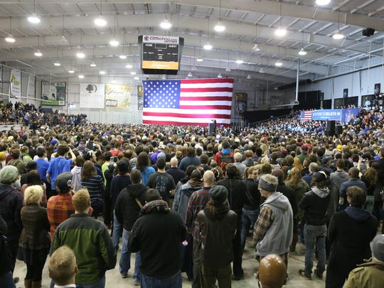 File photo: Thousands of Bernie Sanders supporters pack into the former presidential candidate's rally at the Bill Gray's Regional IcePlex on the campus of Monroe Community College in Brighton in April 2016.