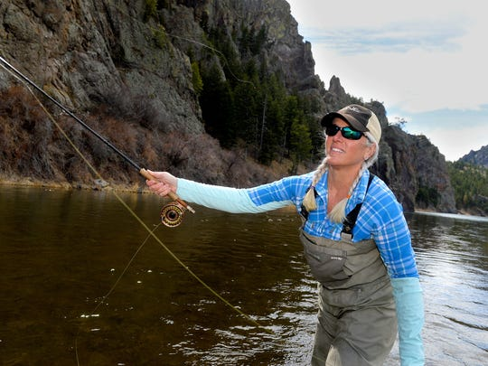 Diane Wright fishes the Missouri River . Wright loves