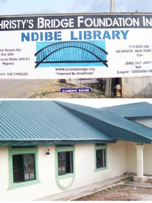 Many books donated by Rochestarians will be housed at this library in Ndibe.