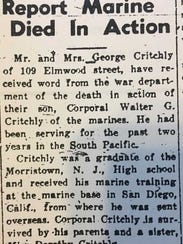 The original newspaper article from Cpl. Walter Critchle's