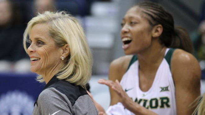 Baylor head coach Kim Mulkey reacts to a play against DePaul during the first half.