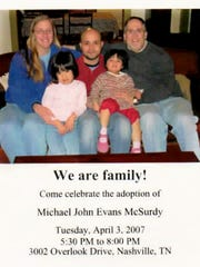 Michael John Evans McSurdy adoption announcement in 2007. From left to right, Cecily, Harriet, Michael, Eloise and Michael