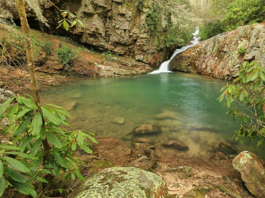 The Yellow Creek Falls and swimming hole can be found in the Starr Mountain area of Cherokee National Forest.