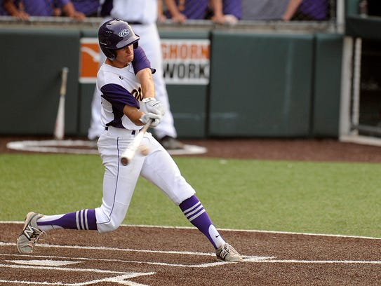 Wylie's Tyler Henson (43) hits a ball during the top