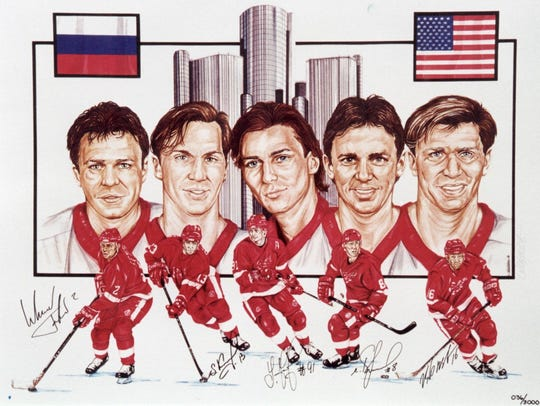 A lithograph, limited edition, of the Detroit Red Wings'