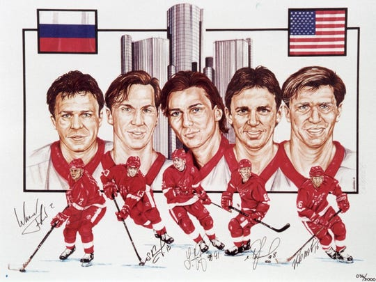 A lithograph, limited edition, of the Detroit Red Wings' Russian Five: Slava Fetisov, Sergei Fedorov, Igor Larionov, and Vladimir Konstantinov.