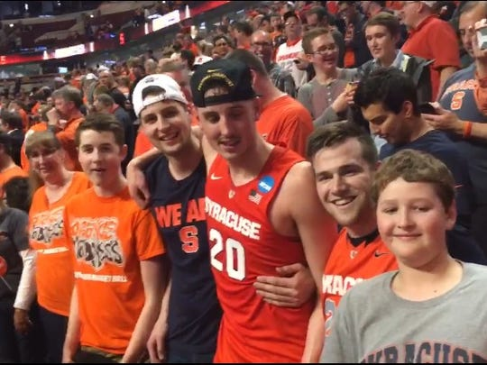 Tyler Lydon with his family and friends after Syracuse defeated Virginia in the NCAA Elite 8 round.