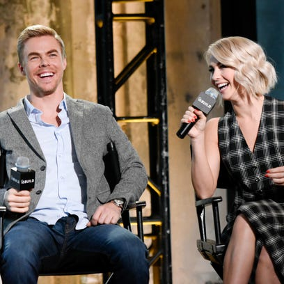 """Dancer siblings Derek Hough, left, and Julianne Hough participate in AOL's BUILD Speaker Series to discuss their upcoming """"Move"""" live dance tour at AOL Studios on Monday, March 2, 2015, in New York."""