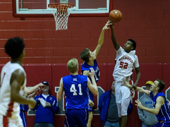 Kiyron Powell (52) is enjoying a breakout season as a sophomore for third-ranked Bosse.