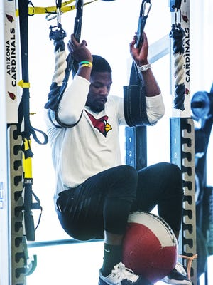 Arizona Cardinals running back David Johnson works out at the Tempe training facility, Tuesday, April 3, 2018, during the offseason strength and conditioning program.