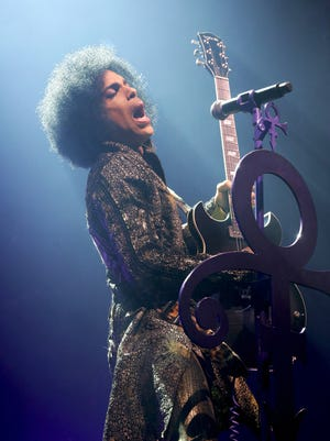 Prince at the Fox Theatre in Detroit on Thursday, April 9.