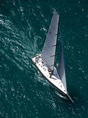 Il Mostro, of Chicago Yacht Club, competes in Class A during the start of the Port Huron-to-Mackinac Island Sailboat Race Saturday, July 16, 2016 on Lake Huron.