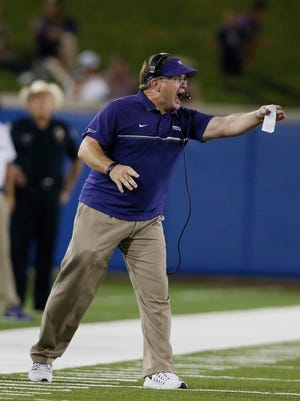 TCU Horned Frogs head coach Gary Patterson reacts to a play in the fourth quarter against the Southern Methodist Mustangs at Gerald J. Ford Stadium.
