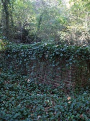 November 4, 2016 - A brick wall of an old spring site is seen at the historic Raleigh Springs site off of James Road. A proposed development would entail the clear-cutting of acreage encompassing the historic Raleigh springs.
