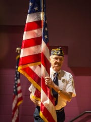 The Pittsville Elementary and Jr. High host a Veterans Day Program at the Pittsville Elementary Auditorium, in honor of those who have and currently serve in the armed forces. Tyler Rickenbach/USA TODAY NETWORK-Wisconsin