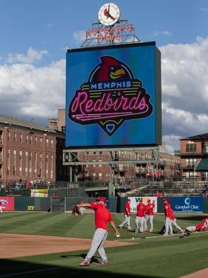 "March 30, 2017 - Scenes from the Memphis Redbirds versus the St. Louis Cardinals ""Battle of the Birds"" exhibition game  at AutoZone Park. This is the beginning of the 20th year of affiliation between the teams."