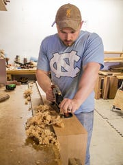 Matt Boardman, former Marine, in the shop at Vermont Woodworking School.