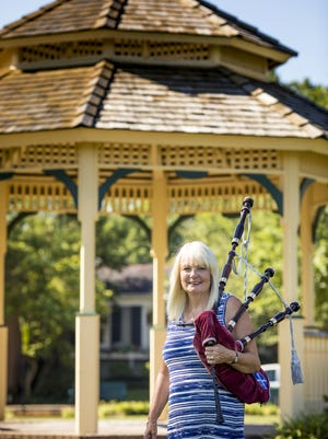 Karen May, pipe major for Cincinnati Caledonian Pipes and Drums, will make an entrance in an unusual piece of music to open the Cincinnati Chamber Orchestra season.