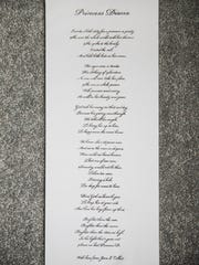 Copy of poem that Joan Collict-Revilla wrote and sent